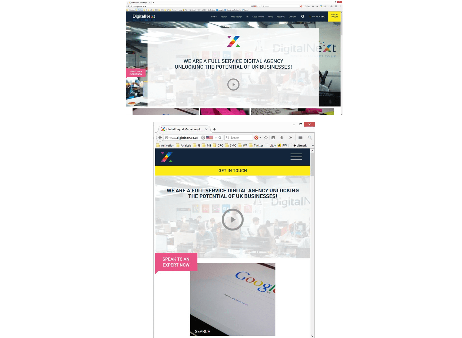 digital next website responsive