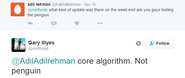 confirmed google update twitter