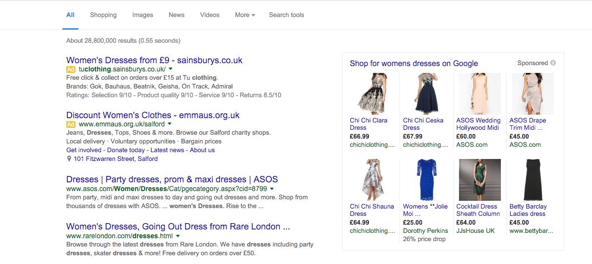 google shopping right hand side bar