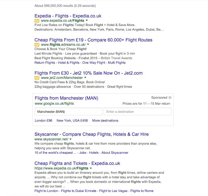 flights google compare