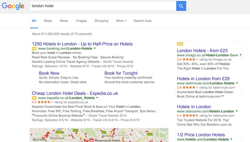 google serp with right hand side bar-