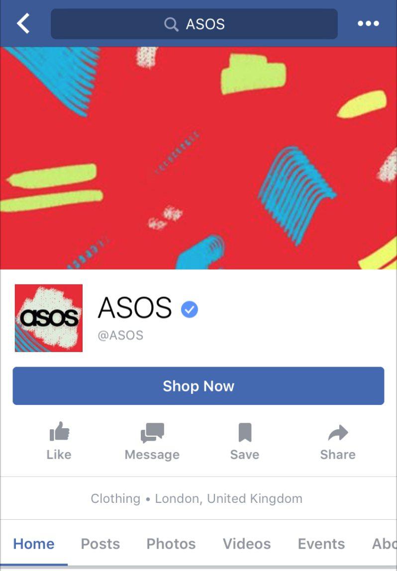ASOS F-Commerce store