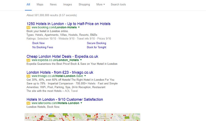 google serp without right hand side bar--
